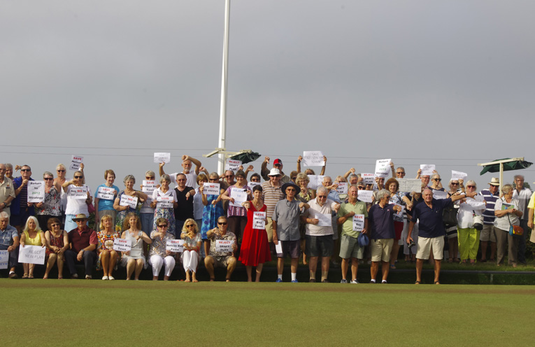 Community members gathered to protest the proposed built heights in the Nelson Bay CBD at Nelson Bay Bowling Club with Kate Washington Member for Port Stephens. Photo by Marian Sampson.