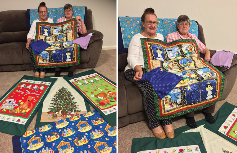 Medowie CWA Publicity Officer Kay Coghlan and President June Fuller with just a few of the special creations. (left) Medowie CWA are proud of their donations for the NICU ward at John Hunter Hospital. (right)