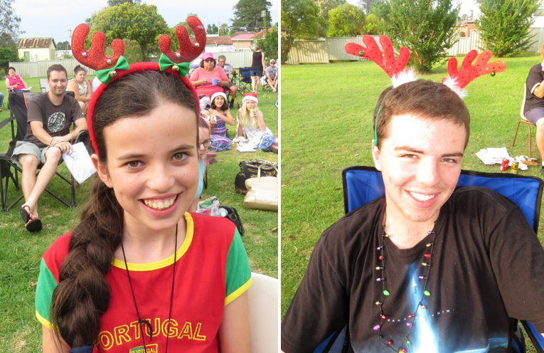 Chloe Coelho gets into the festive spirit. (left) Tom Locke dressed for the festive season. (right)