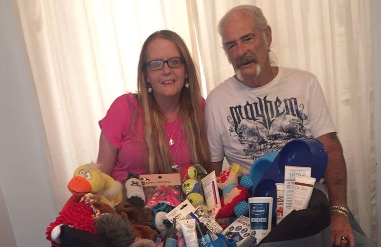 Rachael Roberts and Neville McDermott with a few of the donations so far.