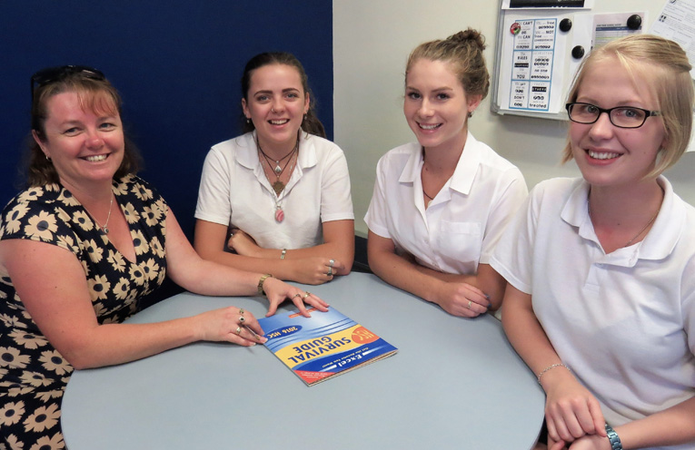 Mrs Deb Gilbert with HSC students Bonnie Webb-Hay, Bianca Mason and Kaitlyn Gregory.
