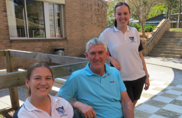 Mentor Program: HSC students Tamara Gooch and Shae Finch with Mr Chris Gladys.