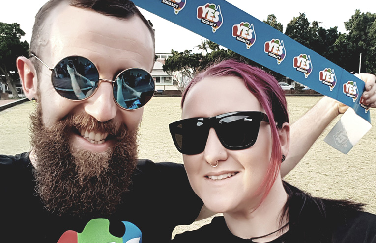 Simon Tarrangt and Katie Liebefury are happy it's a big YES for Marriage Equality. Photo supplied.