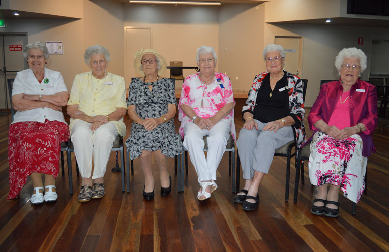 Six of the members joining the over 90s birthday celebrations.
