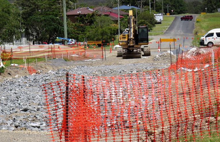 Road work site in Lee Street Bulahdelah