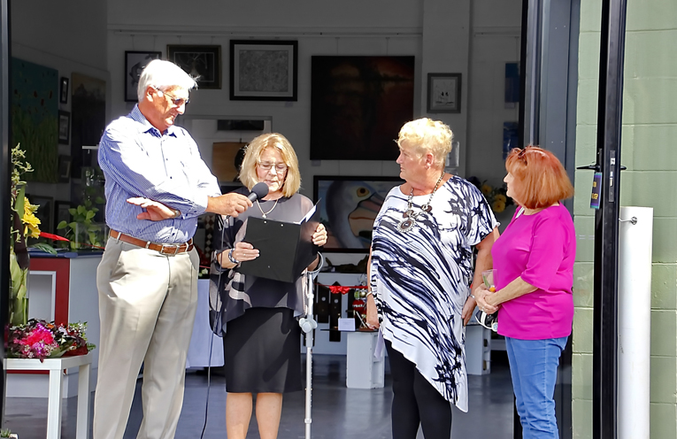 MC Kevin Colman with President Jeanette Matts and founding members Jenny Crozier and Pam Riddell