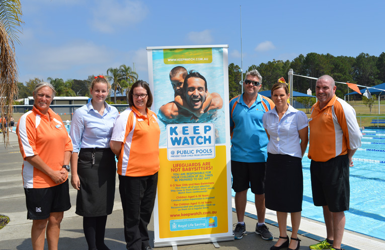Launching the new safety program: Vicki Haines (Life Guard), Jess Sanders (Port Stephens Council), Kate Grigor (Kurri Kurri Aquatic and Fitness), Mark Hughes (Tilligerry Aquatic Centre), Tanya Brunckhorst (Royal Life Saving), and Troy Hughes (Lakeside Leisure Centre).