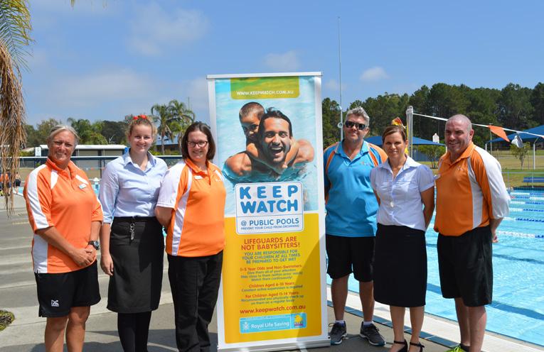 Photo: Launching the new safety program: Vicki Haines (Life Guard), Jess Sanders (Port Stephens Council), Kate Grigor (Kurri Kurri Aquatic and Fitness), Mark Hughes (Tilligerry Aquatic Centre), Tanya Brunckhorst (Royal Life Saving), and Troy Hughes (Lakeside Leisure Centre).