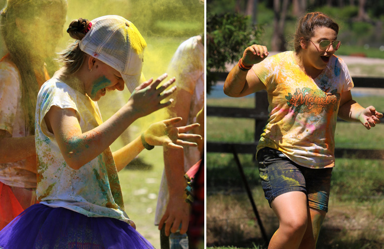 Colourful fun was had by all at the Medowie Colour run. (left) Kiah Skaines had a wonderful time at the colour run. (right)