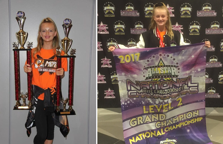 Georgia Almond with some of her trophy wins from the National Championships. (left) Cheer Champ Georgia Almond. (right)