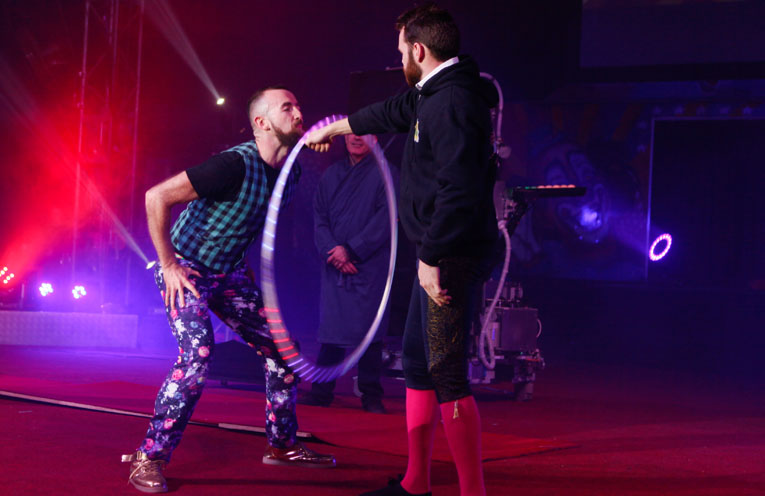 Simon successfully completed the world record attempt at the most number of rotations a hula hoop can make on a beard.