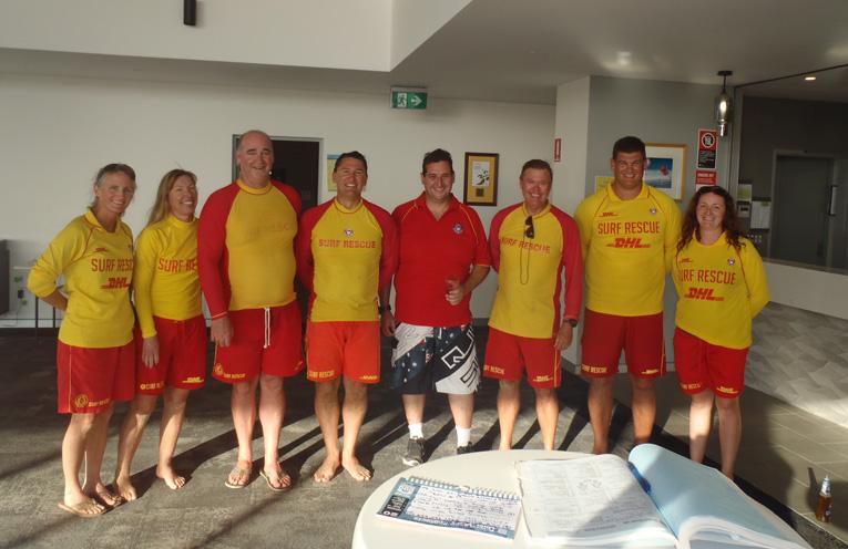 Birubi Beach Surf Life Saving Club Members, Renee Thompson, Linda Elliott, Keith Elliott, Patrick Crowe, Glen Dunkley, Steve Fogwill, Shane Jarvis, Jacqueline Irving.
