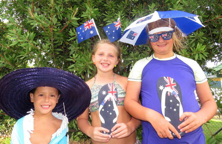 Australia Day: Claire Tufrey, Ajay Tufrey and Paige Collison ready to join the celebrations.