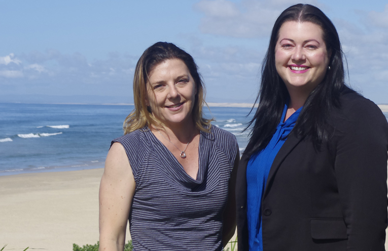 Councillors Jaimie Abbott and Sarah Smith who are concerned about the lack of mobile phone reception in Boat Harbour. Photo by Marian Sampson.