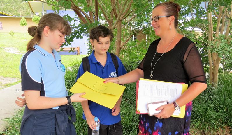 Amia Murphy from Bulahdelah and Oscar Wvyill from Tea Gardens with Year 7 Advisor Ms Linda Drenkhahn.