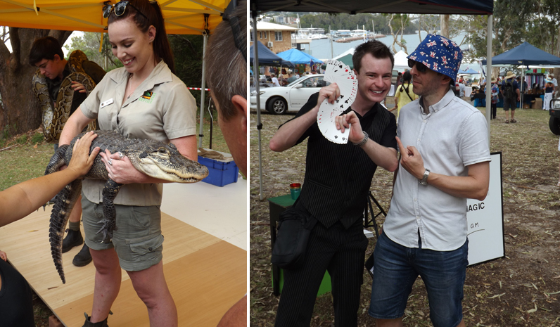 A smiling scaley friend from the reptile display. (left) Joel Howlett of 'JD's World of Magic' and MC Leigh Ryan. (right)