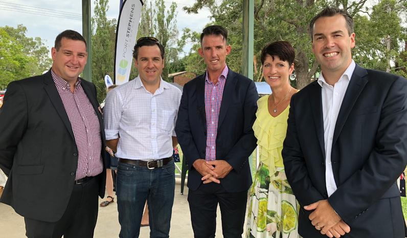 Cr Glen Dunkley, Australia Day Ambassador Peter McLean, Stephen Crowe from Port Stephens Council, Kate Washington MP and Mayor Ryan Palmer.