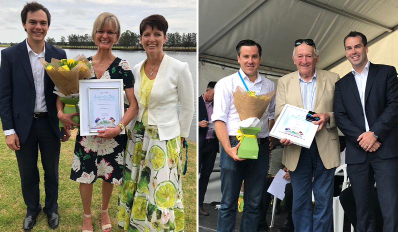 Citizen of the Year Colleen Mulholland-Ruiz with Cr Giacomo Arnott and Kate Washington MP. (left) Port Stephens Medal Winner Geoffrey Basser with Australia Day Ambassador Peter McLean and Mayor Ryan Palmer. (right)