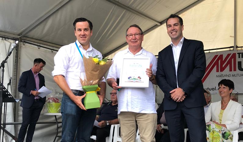 Port Stephens Medal Winner Peter Clough with Australia Day Ambassador Peter McLean and Mayor Ryan Palmer.