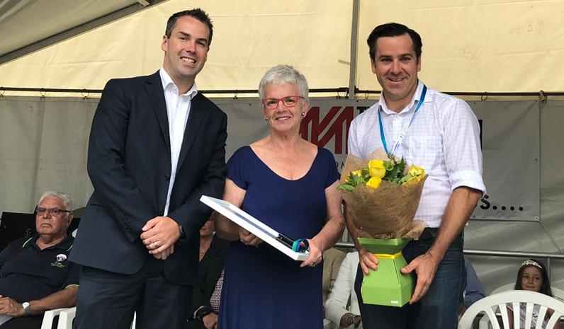 Mayor Ryan Palmer with Cultural Endeavour Award winner Robyn Killen and Australia Day Ambassador Peter McLean.