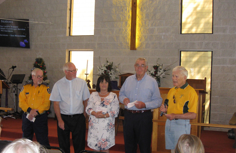 ANGLICAN CHURCH GIVES BACK: Don O'Brien, Rev Peter Adkins, Carol Andrews, Ron Conaghan and Ian Dunlop.
