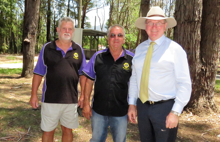 Bulahdelah Lions Glen Daftel and Arthur Baker with Myall Lakes MP Stephen Bromhead.