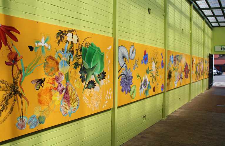 Stroll past Botanica art piece (a series of panels). Head to Terrace Showcase Jewellery on William Street in Raymond Terrace, and visit the alleyway next door to view Botanica.