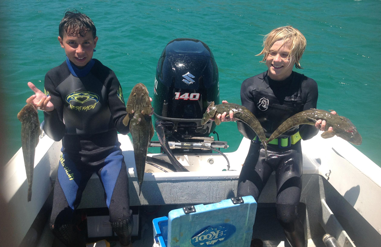 Sam Finn and Taj Turner had a great day spearfishing at Shoal Bay these holidays.