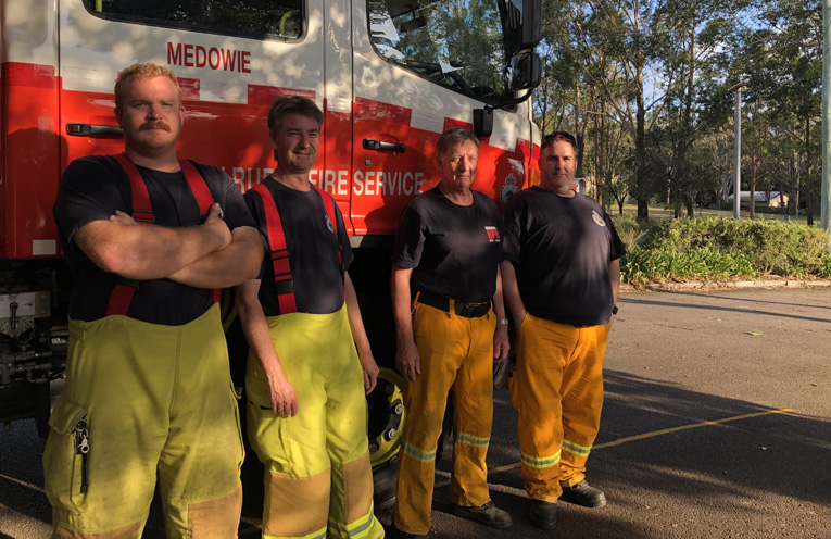 Harrison Wright, Andrew Collins, Ian harding and Gavin Smith swapping the crews over to head back out to the fire front that caused havoc for over a week from Tomago to Medowie.