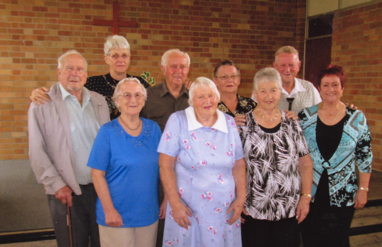 Jim Richards (back row centre) at the Community Church of Christ.