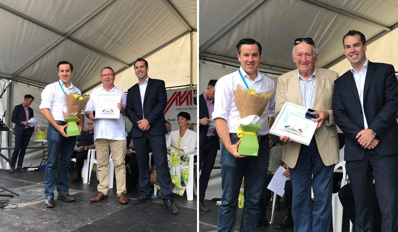 Colleen Mulholland-Ruiz being presented with her award by Mayor Ryan Palmer and Australia Day Ambassador Peter McLean. (left) Port Stephens Medal Winner Peter Clough with Australia Day Ambassador Peter McLean and Mayor Ryan Palmer. (right)
