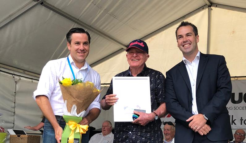 Port Stephens Medal Winner Leon Lindsay with Australia Day Ambassador Peter McLean and Mayor Ryan Palmer.