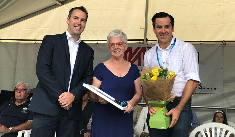 Mayor Ryan Palmer with Cultural Endeavour Award winner Robyn Killen and Australia Day Ambassador Peter McLean.