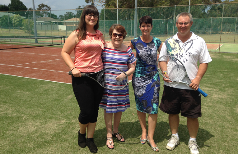 Treasurer of Medowie Tennis Club Gaby Hartig-Franc, Diane Rees Medowie Tennis Club Publicity Officer, Kate Washington MP an Greg Lamborn President of Medowie Tennis Club.