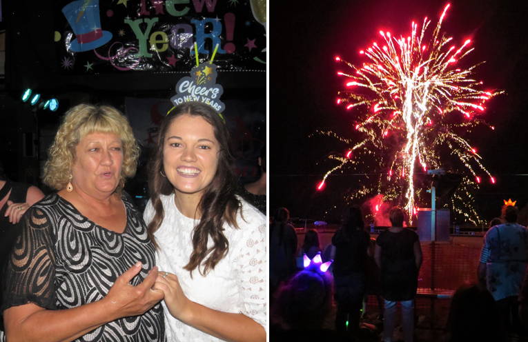 Angela Battle and Emily Bidgood danced the night away. (left) Fireworks at Tea Gardens Country Club. (right)