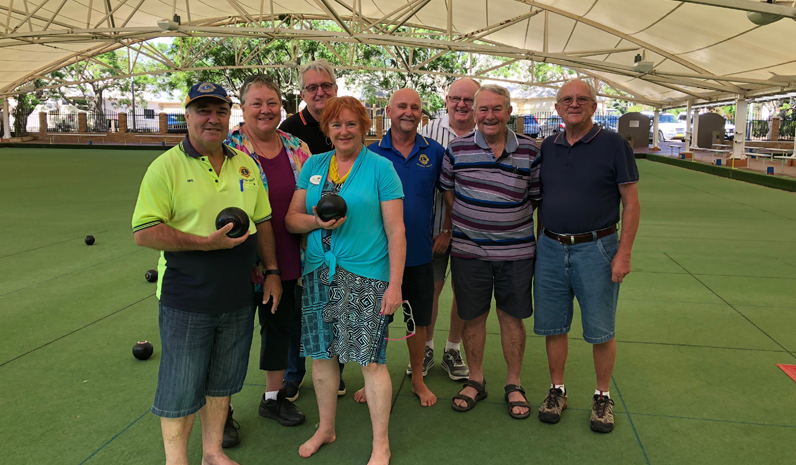 Neil Goldthorpe, Judith Bee, Bob Findley, Glenys Francis, Barry stonham, John Hughes, Dennis Moore and Greg bambach enjoying some barefoot bowls at the Presidents Barbecue.