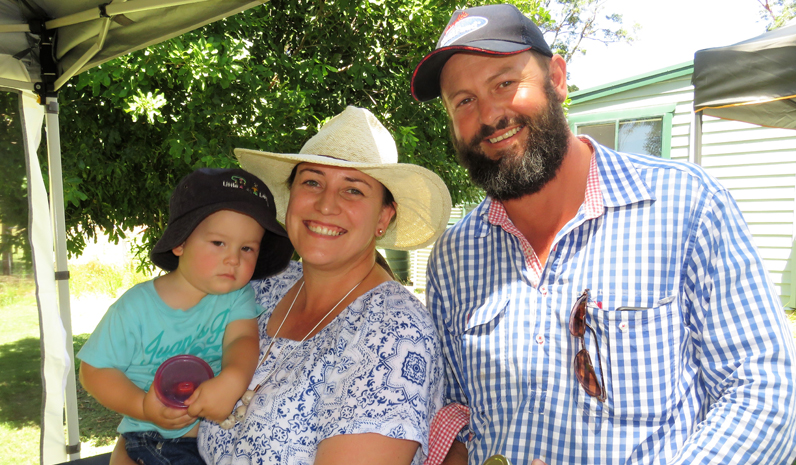 Jack, Em and Andrew Yeo sample the produce at Billabong Cottage.