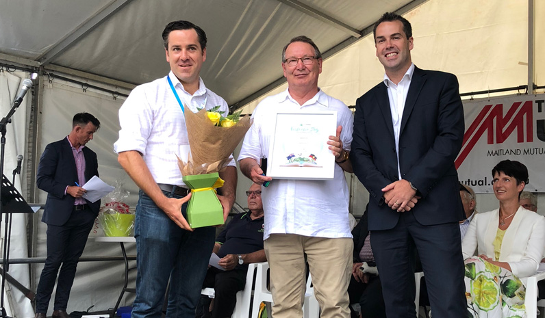 Port Stephens Medal Winner Peter Clough with Australia Day Ambassador Peter McLean and Mayor Ryan Palmer.