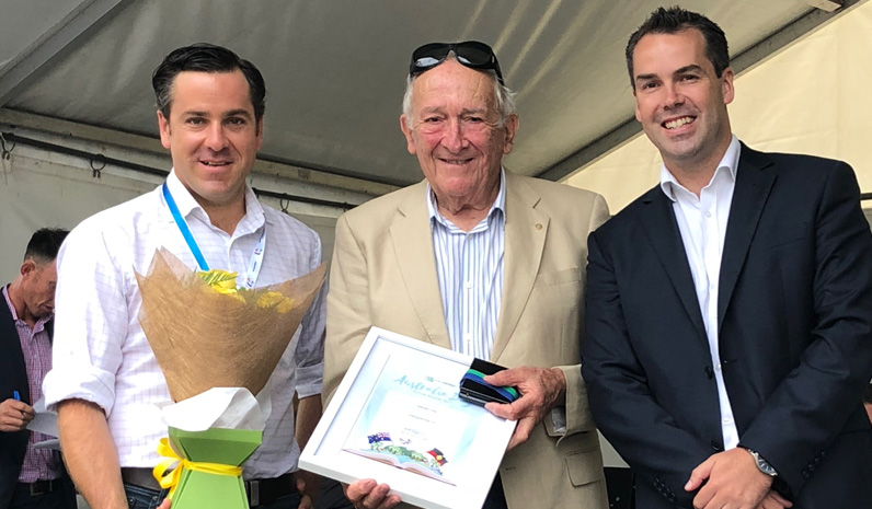 Port Stephens Medal Winner Geoffrey Basser with Australia Day Ambassador Peter McLean and Mayor Ryan Palmer.