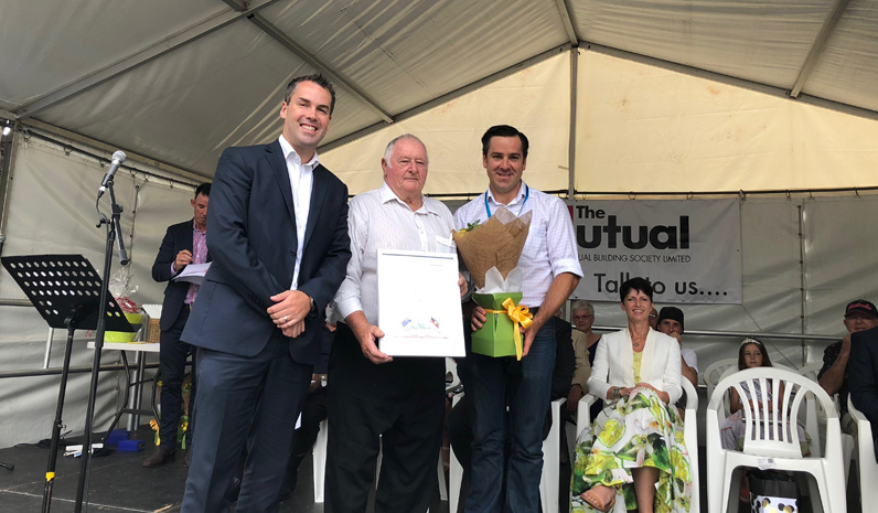 Sportsman of the year, Colin Machon, with Mayor Ryan Palmer and Australia Day Ambassador Peter McLean.