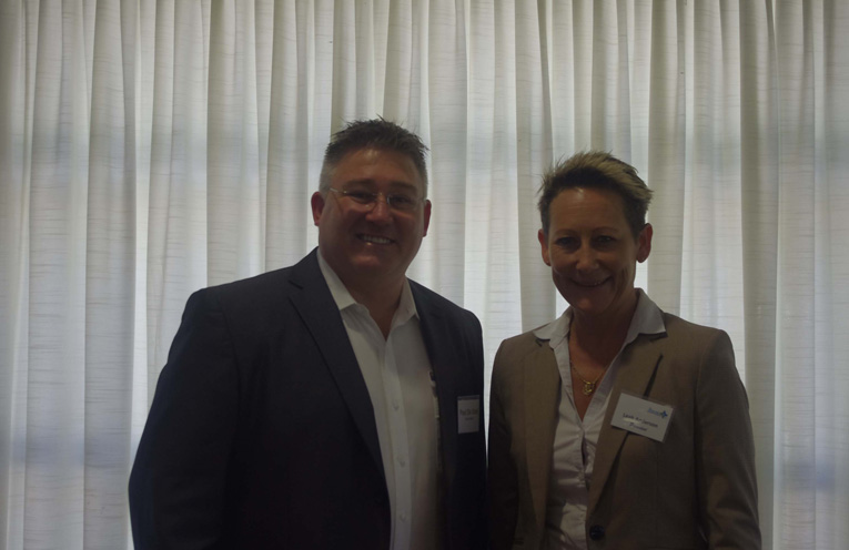 Paul De Szell of Taree Council with Leah Anderson of the Tomaree Business Chamber who are behind the push for the Bay to be managed under a program similar to Taree's Vibrant Town.