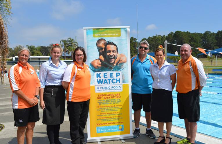 Photo: Launching the new safety program: Vicki Haines (Life Guard), Jess Sanders (Port Stephens Council), Kate Grigor (Kurri Kurri Aquatic and Fitness), Mark Hughes (Tilligerry Aquatic Centre), Tanya Brunckhorst (Royal Life Saving), and Troy Hughes (Lakeside Leisure Centre).