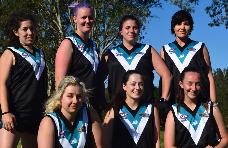 Jess, Mel, Stacey, Leaf, Danielle, Steph and Kayla from the Port Power Women's team. Photos by Michael Gestrin