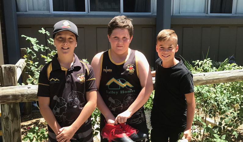 Jackson Fuller, Michael Moffat and Divan Bezuidenhout, three of Medowie's players who attended the National Rugby Camp in Armidale.