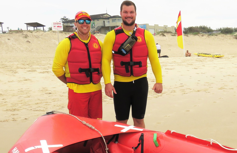 Surf Lifesavers James Fitzpatrick and Greg Wells.