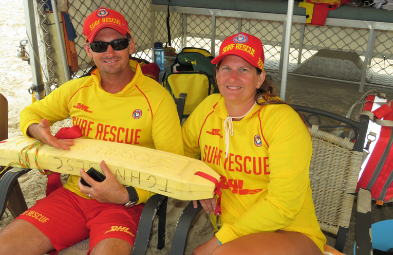 Surf Patrol: Steve Tranter and LJ Chester at Bennetts Beach.