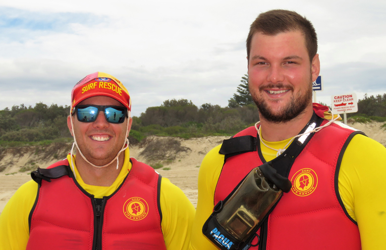 Beach Patrol: James Fitzpatrick and Greg Wells.