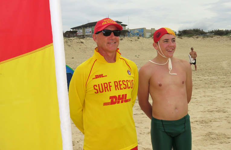 Surf Lifesavers Brian Watson and Isaac Stokes.