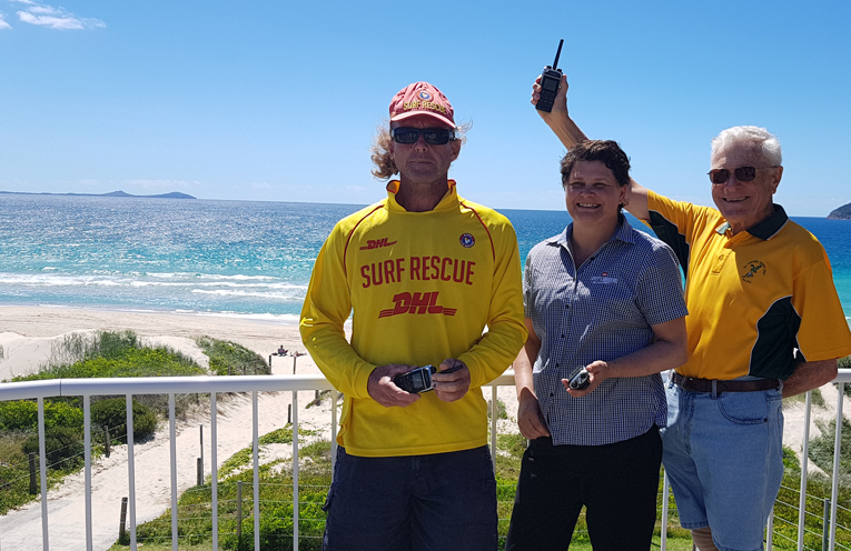 TEA GARDENS HAWKS NEST SLSC: Stephen Howell, IGA'S Lyndal Blaber and Ian Dunlop.