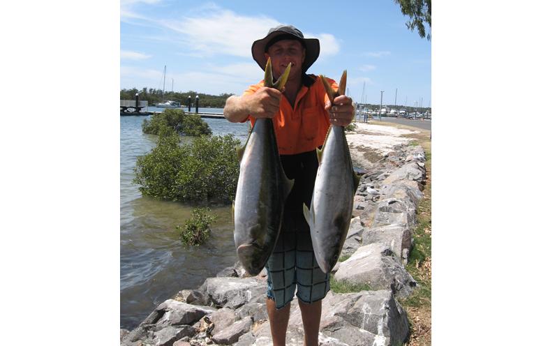 Adam Parbera with his kingfish catch.